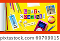 Concept of Spanish language courses. Learn spanish word made with carved paper cut letters 60709015