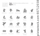 Sport and Activity outline vector icons. Kickboxing, Cycling, Wheelchair Walk, Run, Racquetball, Squash, Lacrosse, Hiking. 60712038