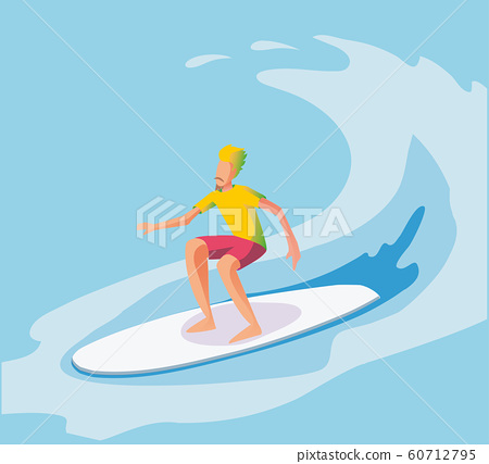 Vector illustration of surfer riding the wave. 60712795