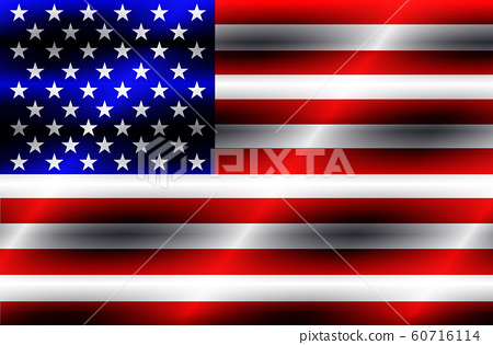 Bright banner with flag of USA. Made in USA button. 60716114