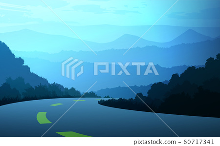 Natural forest trees mountains horizon hills and the route Sunrise and sunset Landscape wallpaper Illustration vector style Colorful view background 60717341