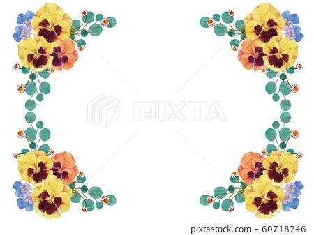 三色堇和中提琴水彩框架 60718746