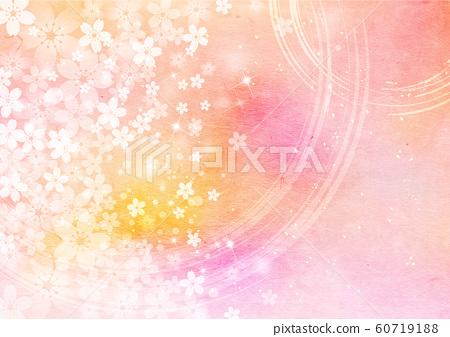 벚꽃 _ 둥근 붓 기호 _ 핑크 종이 배경 60719188