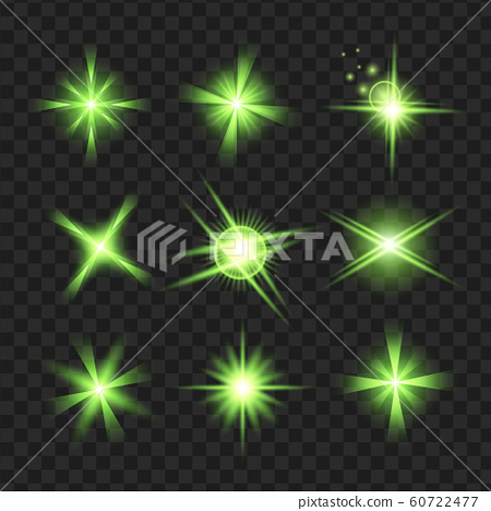 green shine stars with glitters, Effect graphic light. Transparent design elements background. 60722477