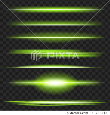 Set of gren glowing light effect. Isolated on black transparent background. Vector illustration, eps 10. 60722516