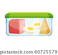 Plastic or Glass Closed Container with Food Items Inside Vector Illustration 60725579