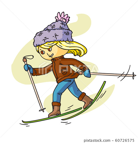 Little child skiing flat vector illustration. Smiling kid in warm clothes cartoon character. Happy childhood activity, winter holidays. Active outdoor pastime, sports leisure, seasonal recreation. 60726575