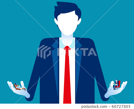 Business person choosing between holiday or 60727805