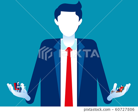 Business person choosing between holiday or 60727806
