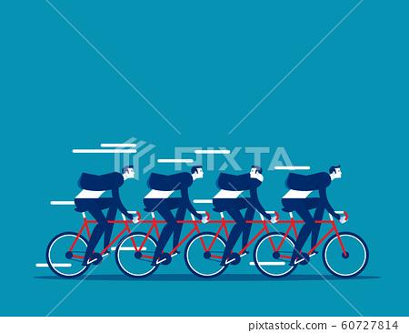 Business team group riding on tandem bike 60727814