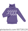 Knitted sweater flat vector illustration 60728126