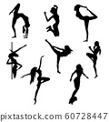 Set of female silhouettes of various sports. 60728447