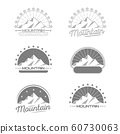 Set of mountain adventure and expedition logo badges 60730063