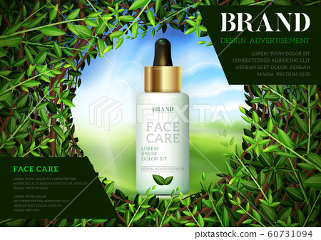 Cosmetic ads template, Moisture essence based Green tea. Skin care cosmetic essence. 60731094