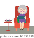 Flat design cartoon illustration of an old woman 60731239