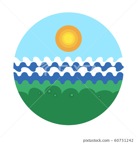 Vector illustration of green grassy beach with 60731242