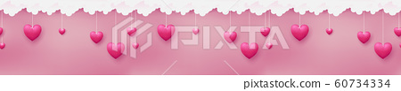 Horizontal seamless consists of pink hearts are hanging by paper craft clouds on pastel pink background 60734334