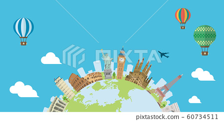 Overseas Travel / Vacance Image Banner (No Letter) / World Famous Buildings (Ruins, Buildings, World Heritage) 60734511
