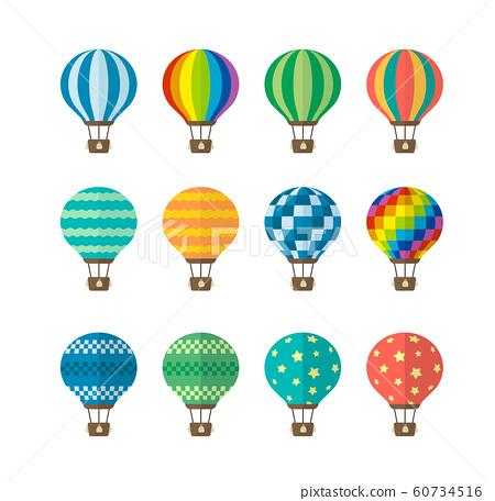 氣球,熱氣球,廣告氣球彩色插圖集 60734516