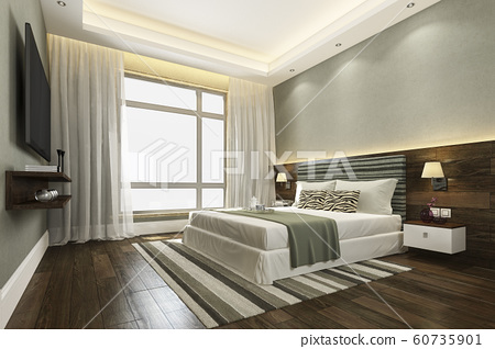 3d rendering beautiful green luxury bedroom suite in hotel with tv 60735901