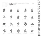 Sport and Fitness Activity outline vector icons. Run, Yoga, Stair Stepper, High-intensity interval training, Tai Chi, Pilates. Editable stroke. 60737397