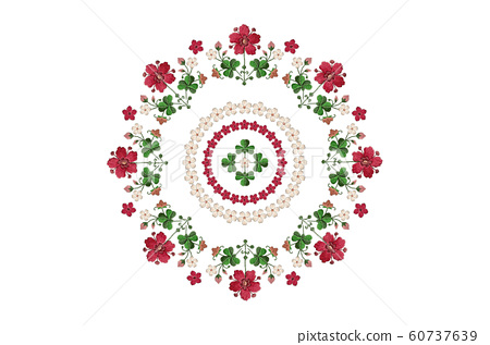 Wreath for embroidery with bouquets of flowers and clover leaves on white background 60737639