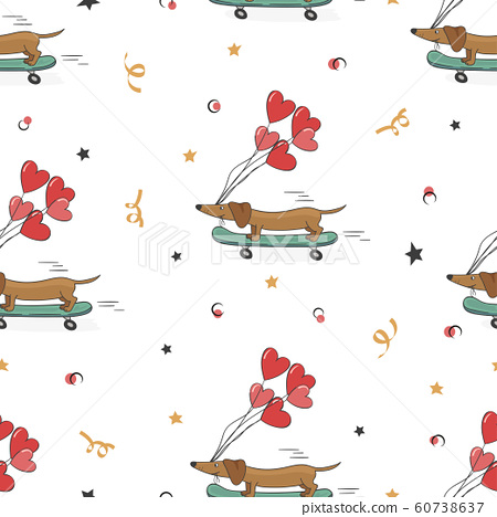Seamless pattern with cute dachshund and heart ballons 60738637