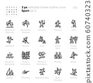 Sport and Fitness outline vector icons. Equestrian Eventing, Fencing, Golf, Hockey, Karate, Rugby, Surfing, Skateboarding. 60740323
