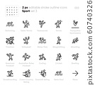 Sport and Fitness Activity outline vector icons. Swimming, Tennis, Triathlon, Bowling, Volleyball, Water Polo 60740326