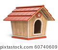 Wooden dog house Side view 3D 60740609