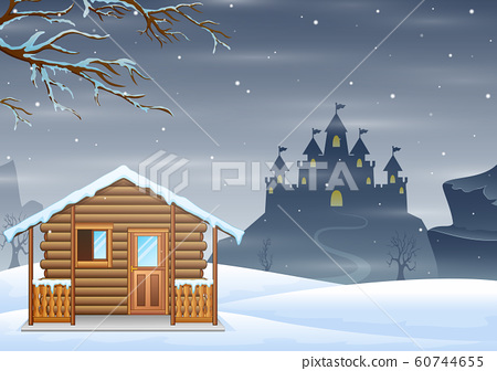 A small wooden house and silhouette castle on hill 60744655