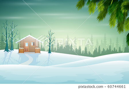 Illustration of a landcape and a house in a beautiful nature 60744661