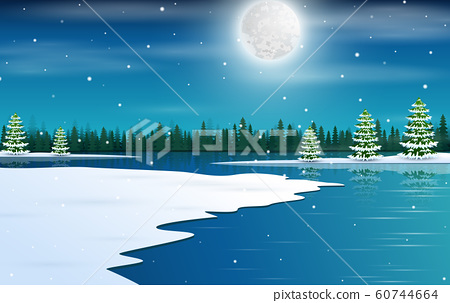 Winter wonderland background with starry night sky 60744664