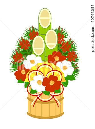 Kadomatsu Smile Pine装饰着竹片,看起来像一张笑脸 60748055