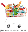 Shopping cart with fresh products. 60755281
