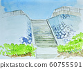Stairs descending to the beach Watercolor 60755591