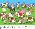 farm animals cartoon characters group on meadow 60756013