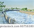 Landscape near the river mouth Watercolor 60756380