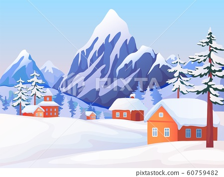 Winter rural landscape. Nature scene with snowy mountain peaks, wooden houses and spruce trees. Vector winter background 60759482