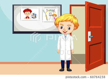 Classroom scene with science student inside 60764238