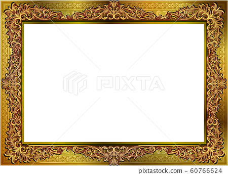 Frame of border with corner line floral for picture, Vector design decoration pattern style 60766624