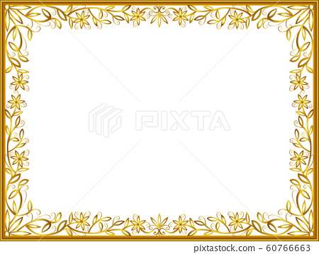 Frame of border with corner line floral for picture, Vector design decoration pattern style 60766663