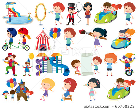Large set of isolated objects of kids and circus 60768225