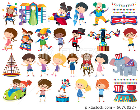 Large set of isolated objects of kids and circus 60768227
