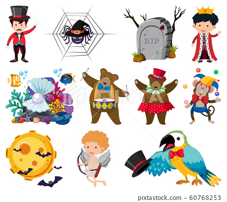 Set of fairytale and circus characters 60768253