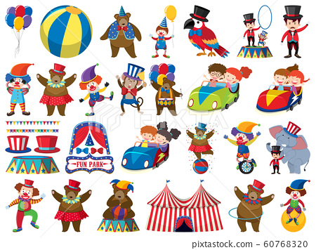 Large set of isolated objects of kids and circus 60768320