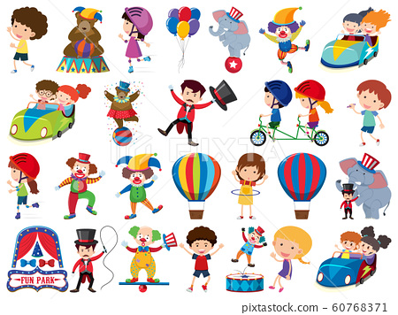 Large set of isolated objects of kids and circus 60768371