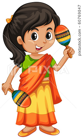 Indian girl with two maracas 60769847