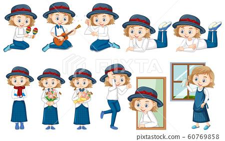 Girl doing different activities 60769858