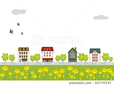 景觀時尚的城市景觀新鮮的綠化和油菜開花 60770543